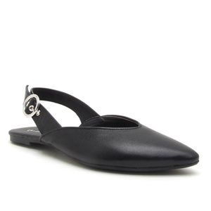 Shoes - Black Ballerina Sling Back Flat with Buckle